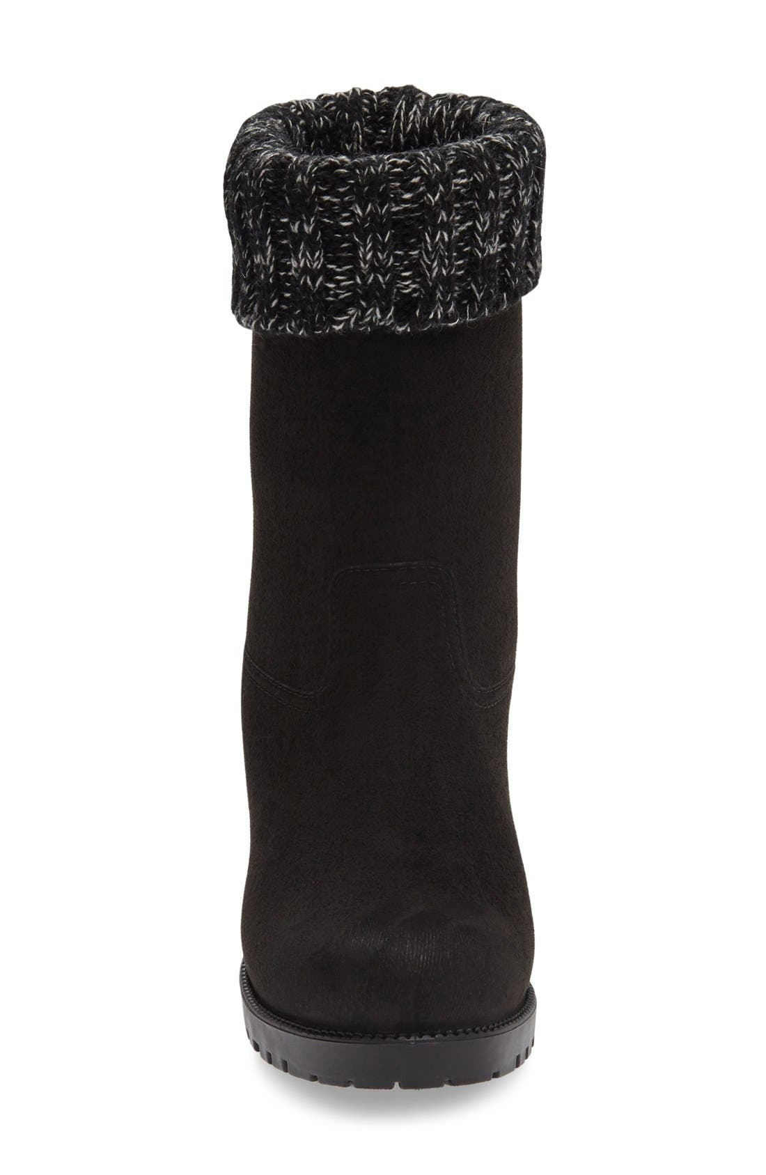 Shelby Knit Cuff Waterproof Boot,                             Alternate thumbnail 3, color,                             Black