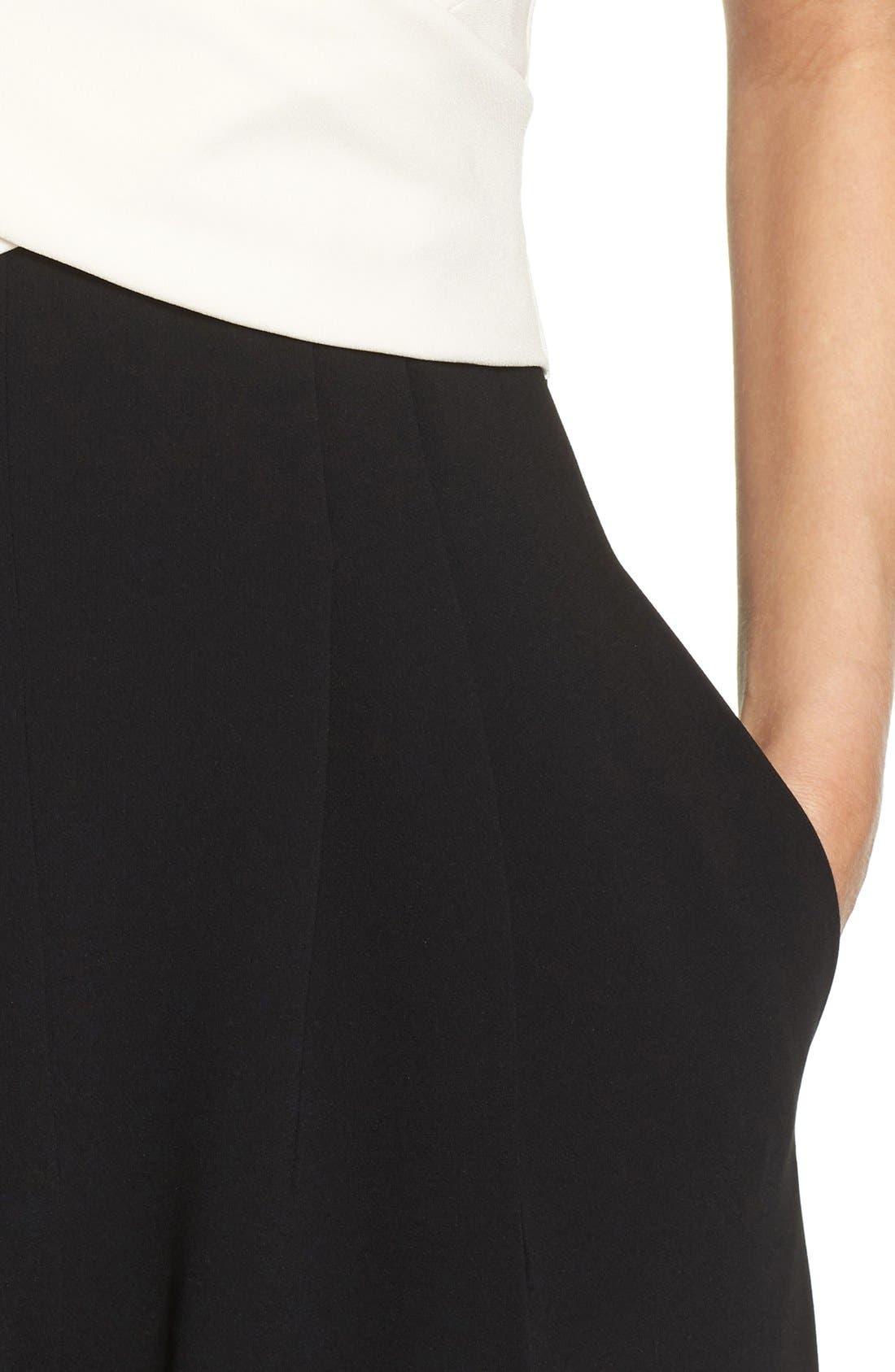Wide Leg Jumpsuit,                             Alternate thumbnail 5, color,                             Ivory/ Black