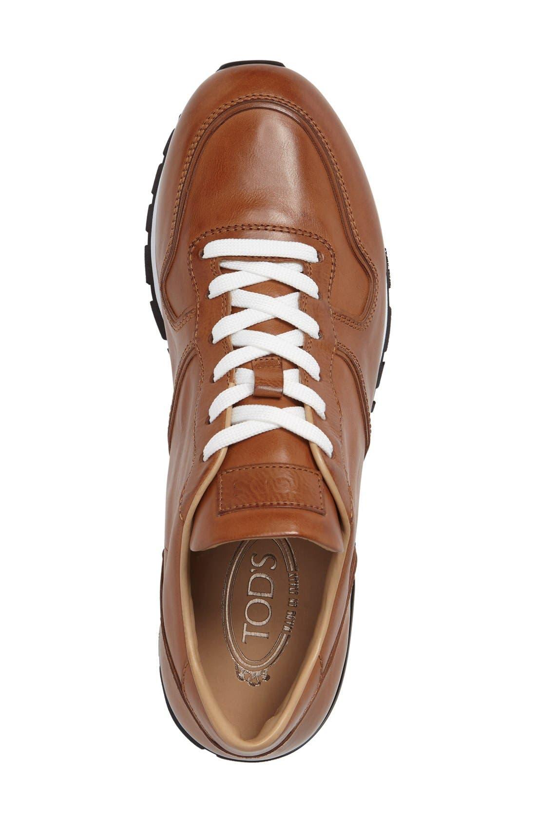 'Allacciato' Sneaker,                             Alternate thumbnail 3, color,                             Brown Leather