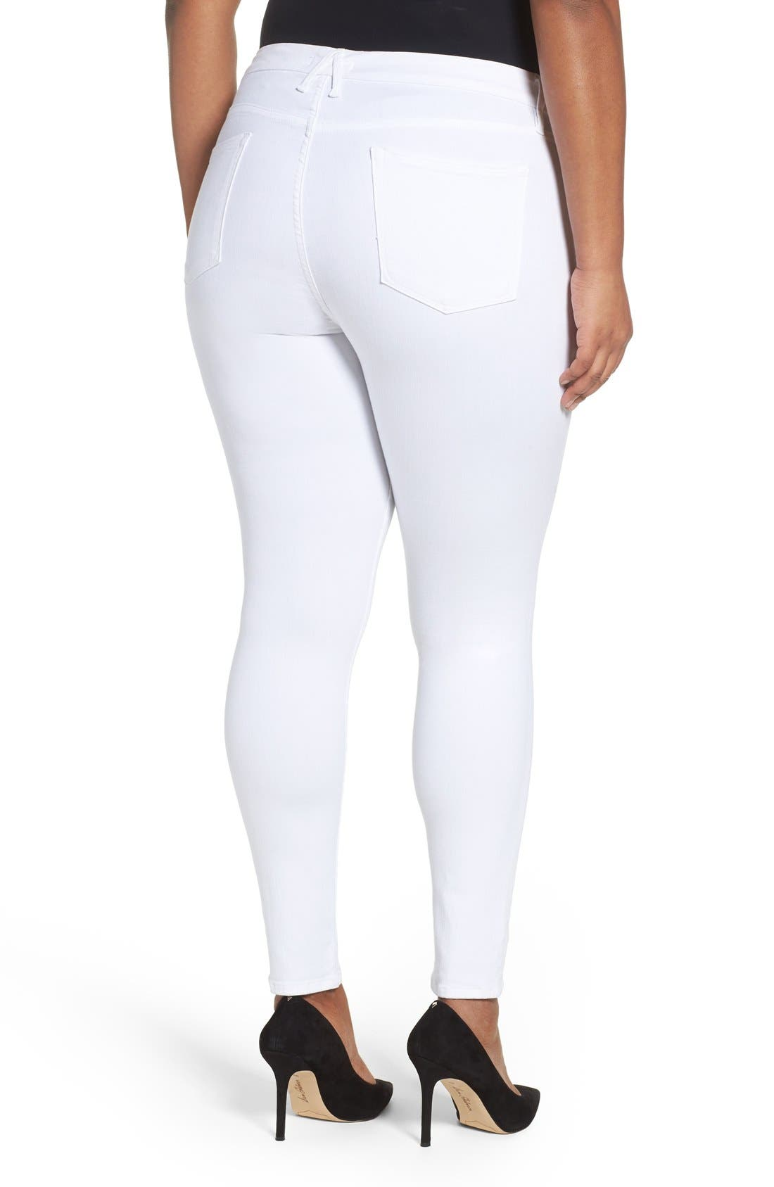 Alternate Image 8  - Good American Good Legs High Rise Skinny Jeans (White 001) (Extended Sizes)