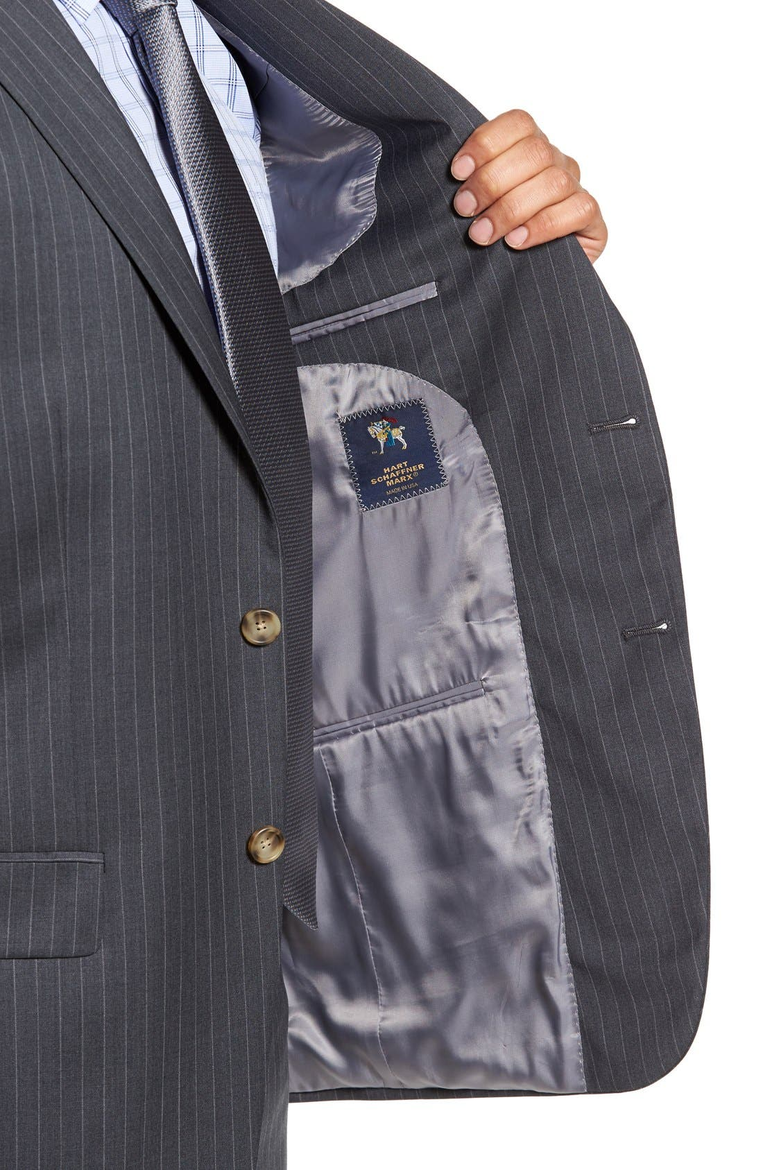 New York Classic Fit Stripe Wool Suit,                             Alternate thumbnail 4, color,                             Grey