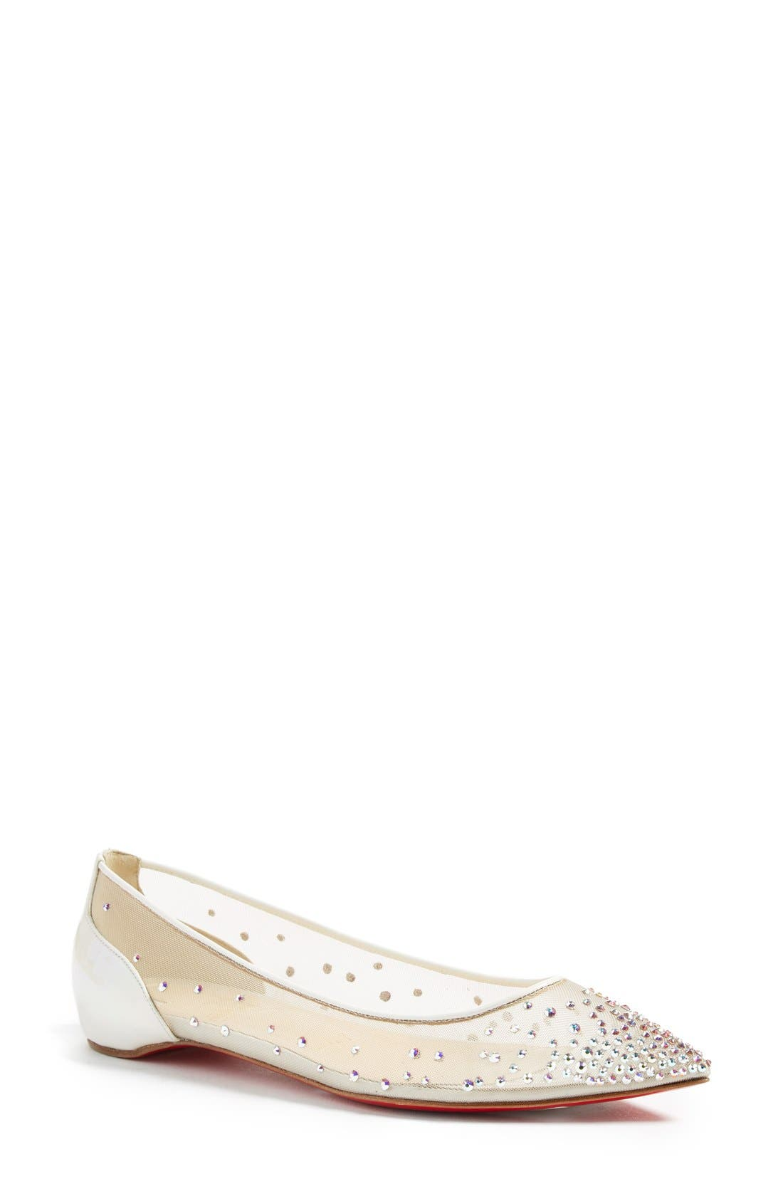Follies Strass Pointy Toe Flat,                             Main thumbnail 1, color,                             White