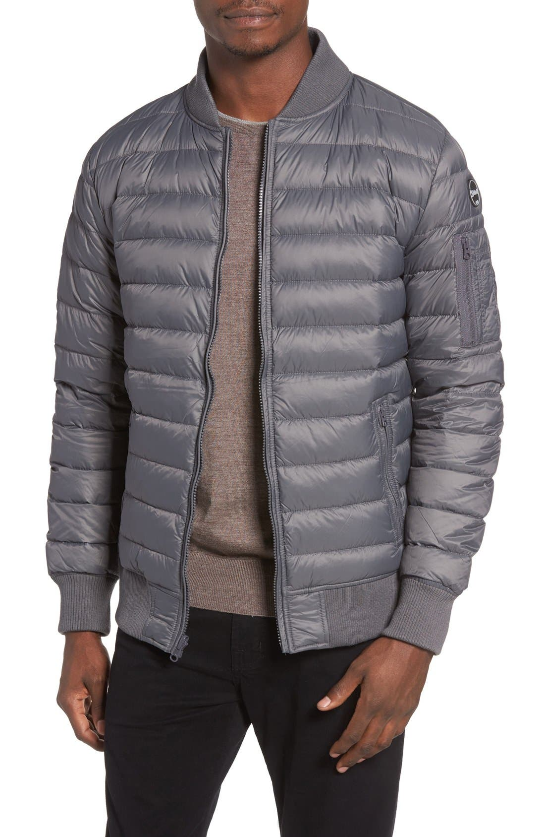 Reversible Down Bomber Jacket,                         Main,                         color, Charcoal