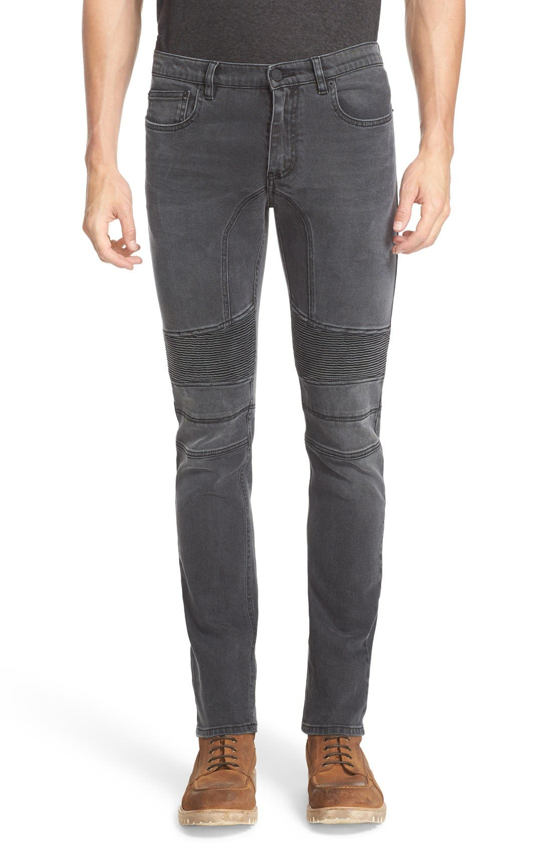 Belstaff Eastham Slim Fit Stretch Denim Moto Jeans (Charcoal)