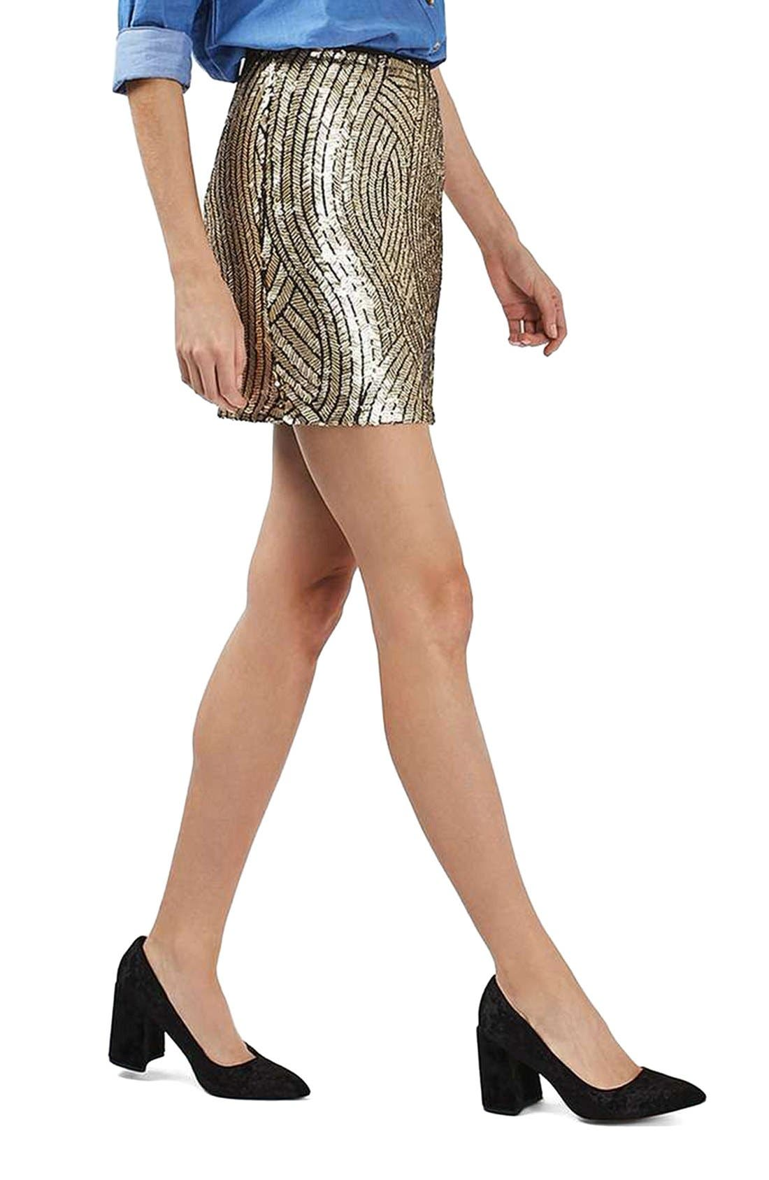 Psych Sequin Miniskirt,                             Alternate thumbnail 3, color,                             Gold Multi