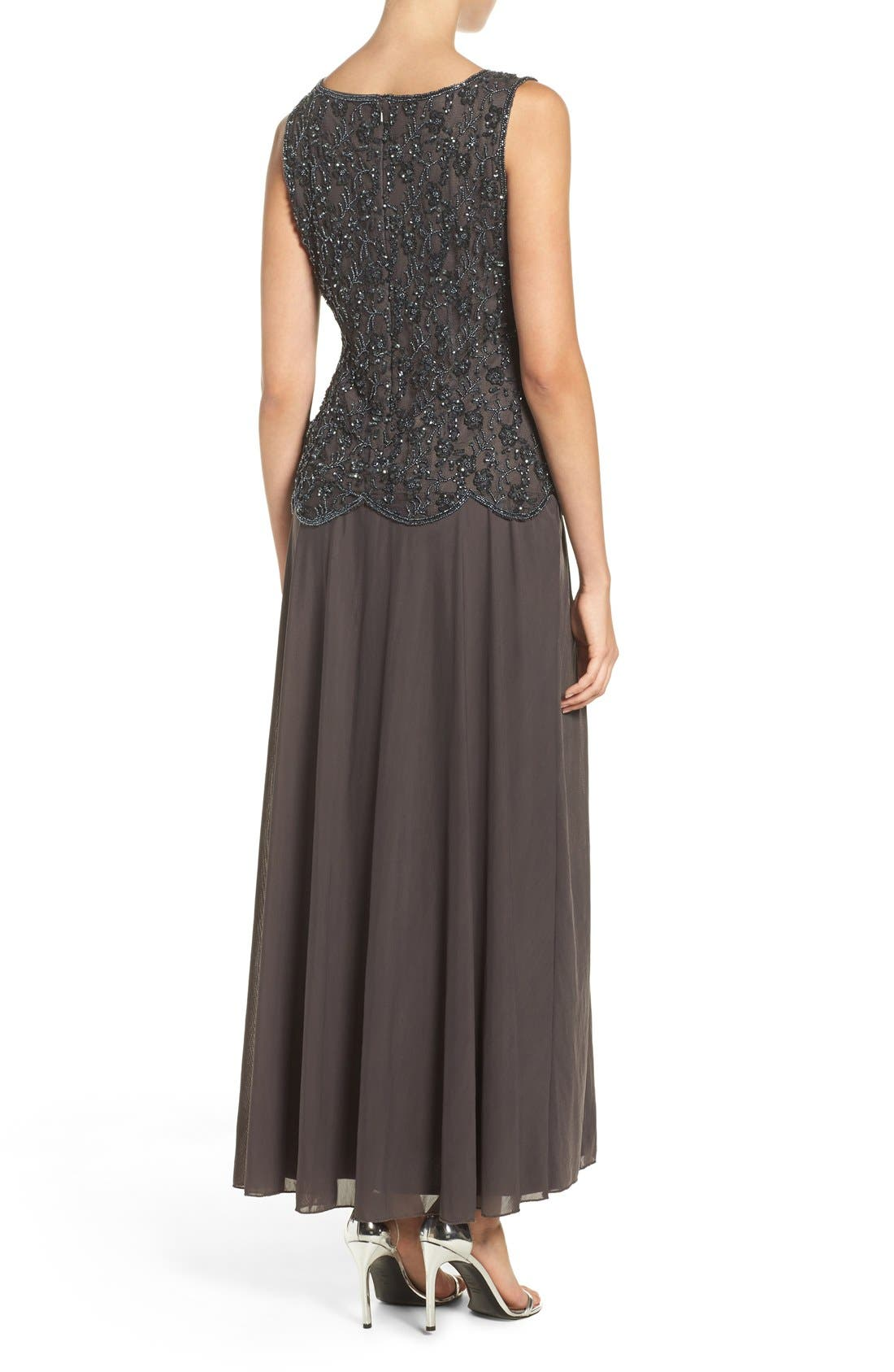 Embellished Mesh Gown,                             Alternate thumbnail 2, color,                             Slate