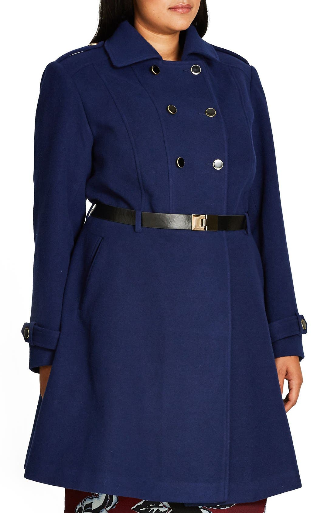 Alternate Image 4  - City Chic Double Agent Belted Coat