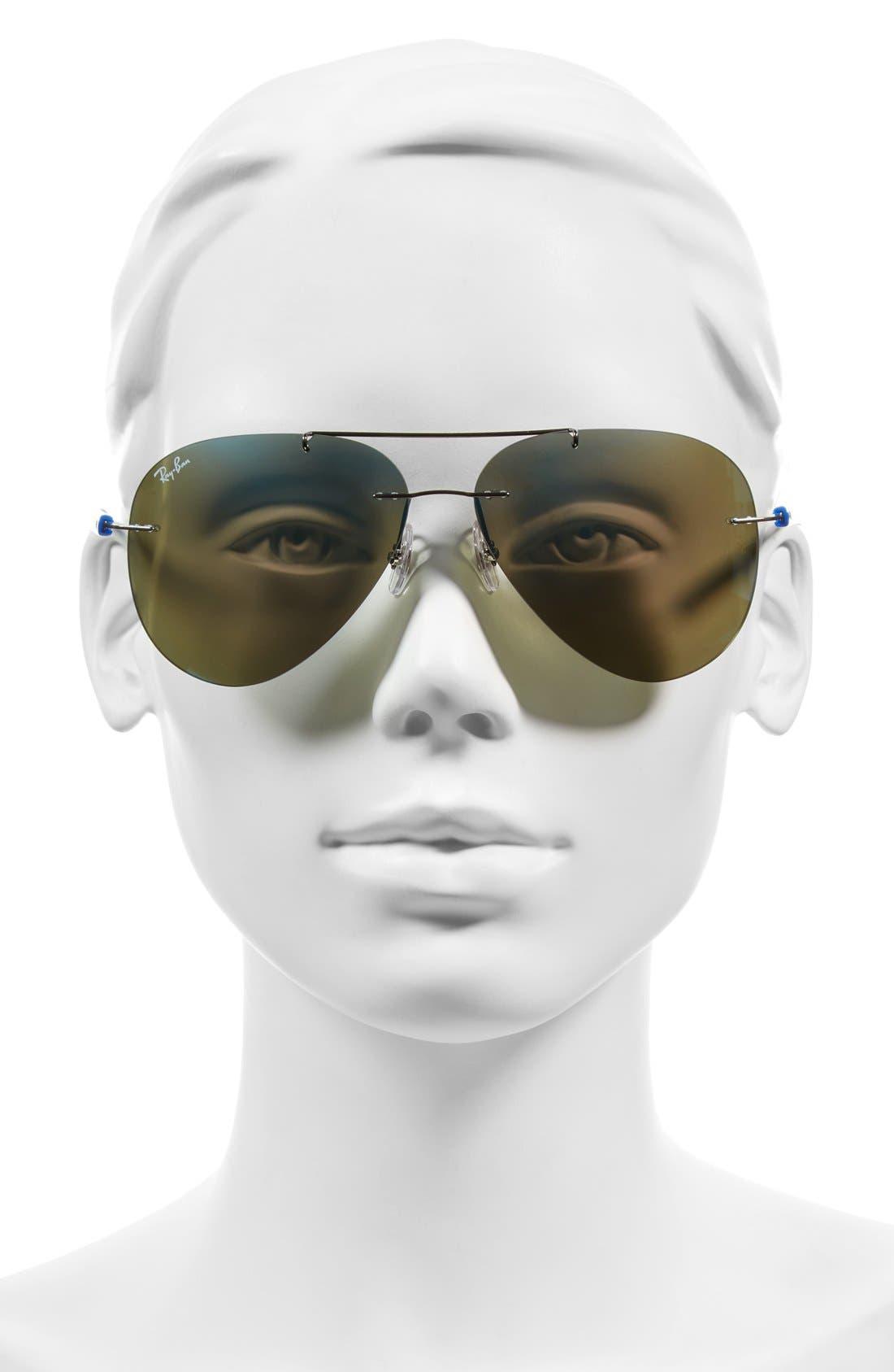 Tech 59mm Aviator Sunglasses,                             Alternate thumbnail 2, color,                             Gunmetal