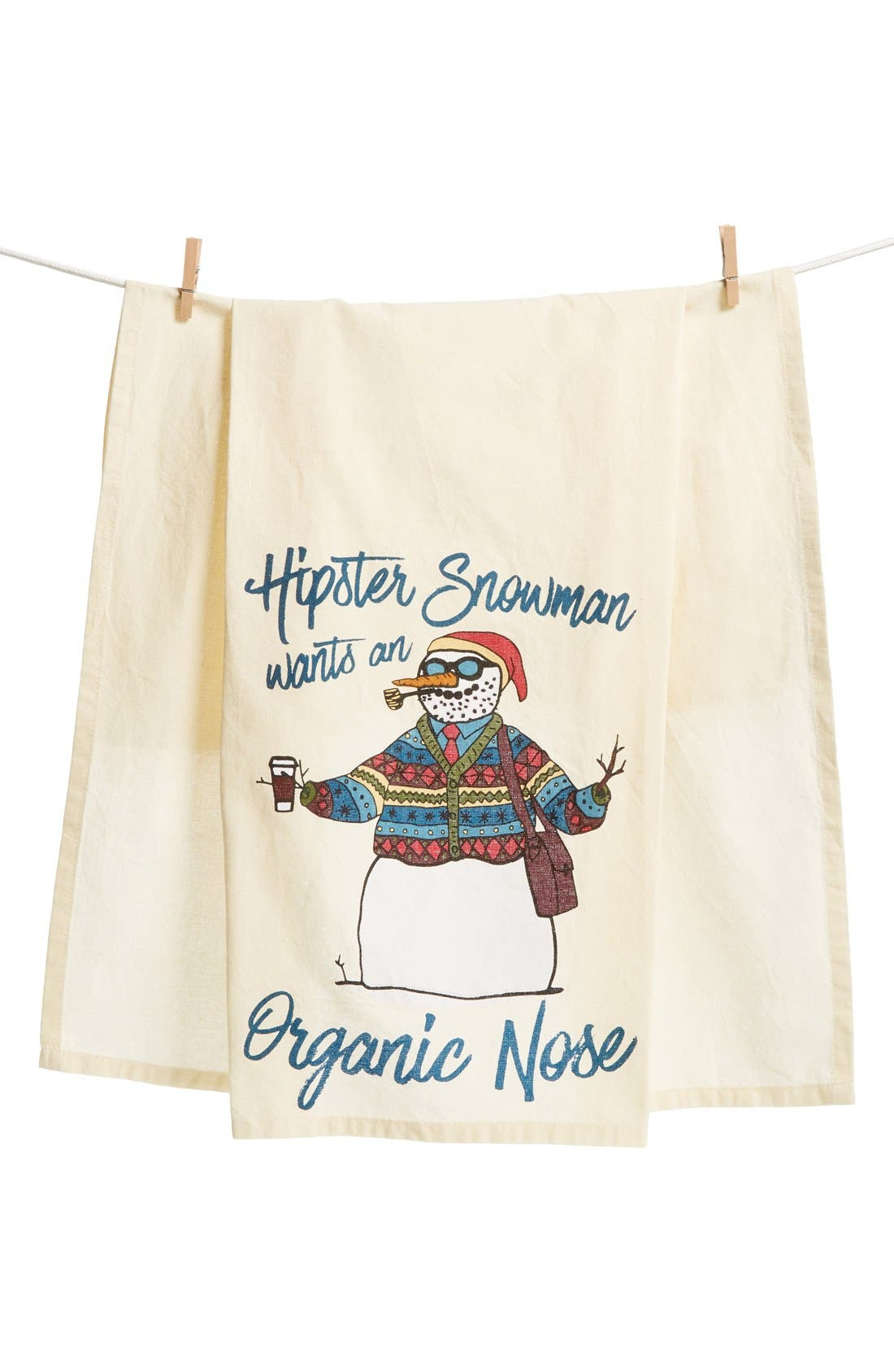 Hipster Snowman Dish Towel,                         Main,                         color, Blue/ Multi