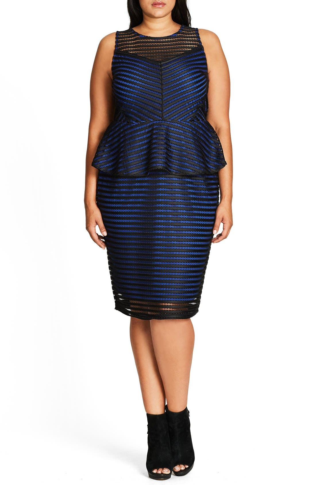 City Chic Sexy Shadow Peplum Dress (Plus Size)
