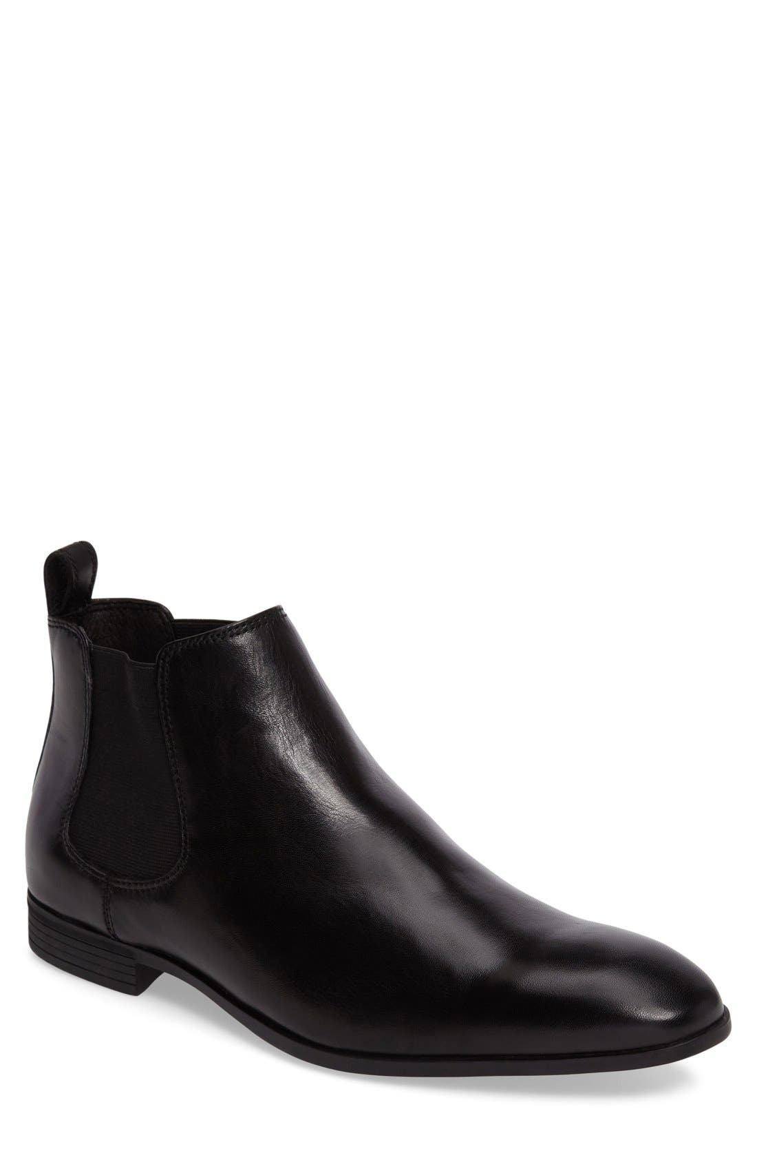 'Huntley' Chelsea Boot,                             Main thumbnail 1, color,                             Black Leather
