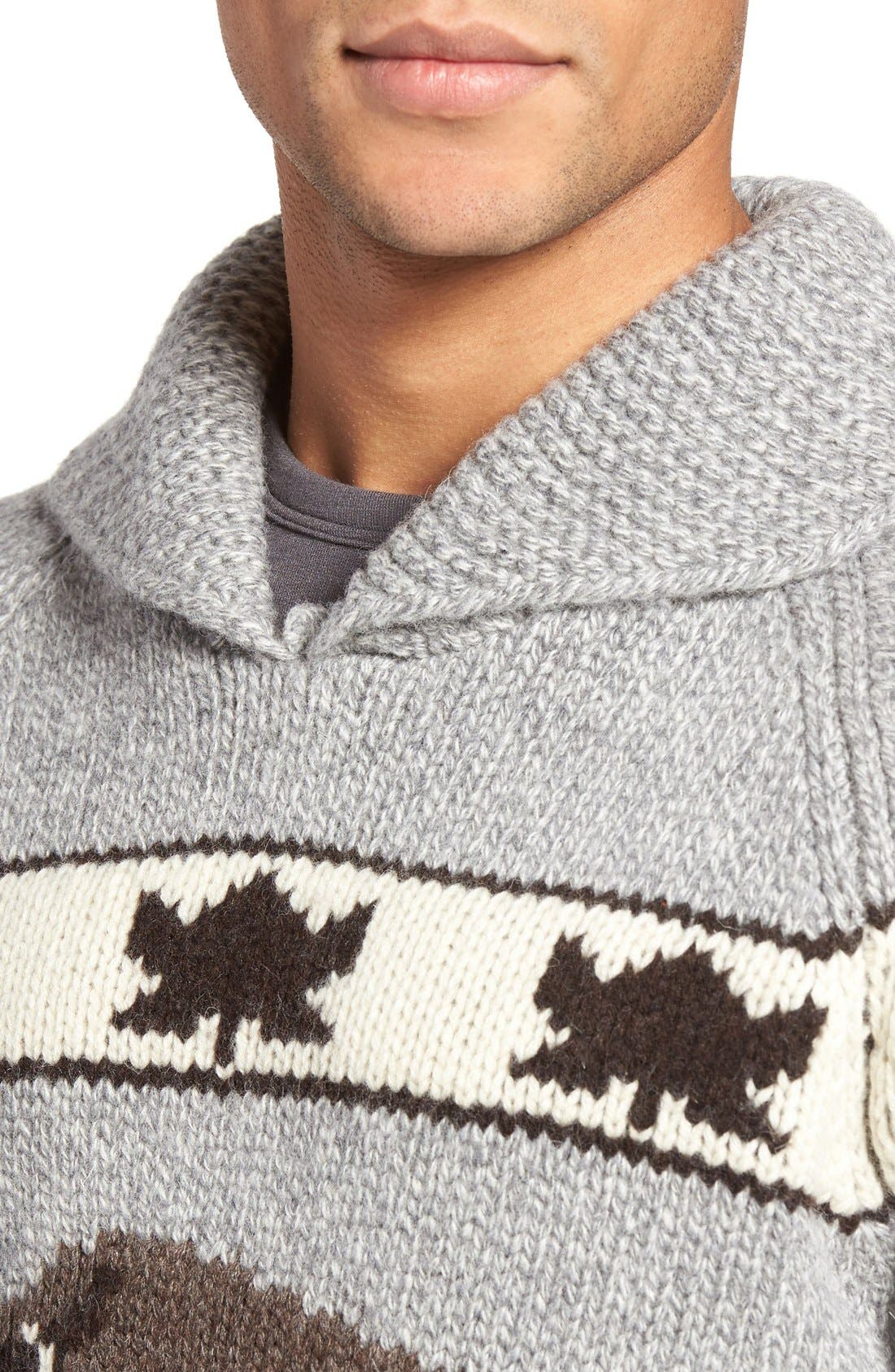 Cowichan Pullover Sweater,                             Alternate thumbnail 4, color,                             Heather Grey