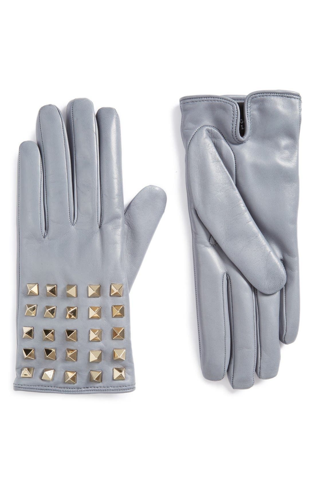 GARAVANI Rockstud Leather Gloves,                         Main,                         color, Powder
