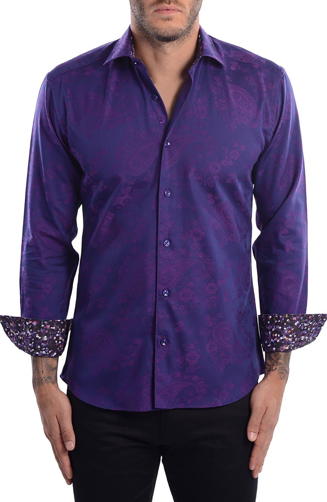 Paisley Modern Fit Sport Shirt,                             Main thumbnail 1, color,                             Purple