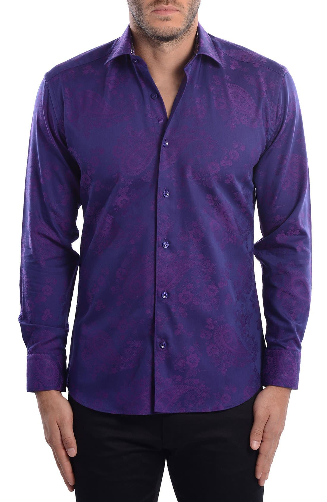 Paisley Modern Fit Sport Shirt,                             Alternate thumbnail 3, color,                             Purple