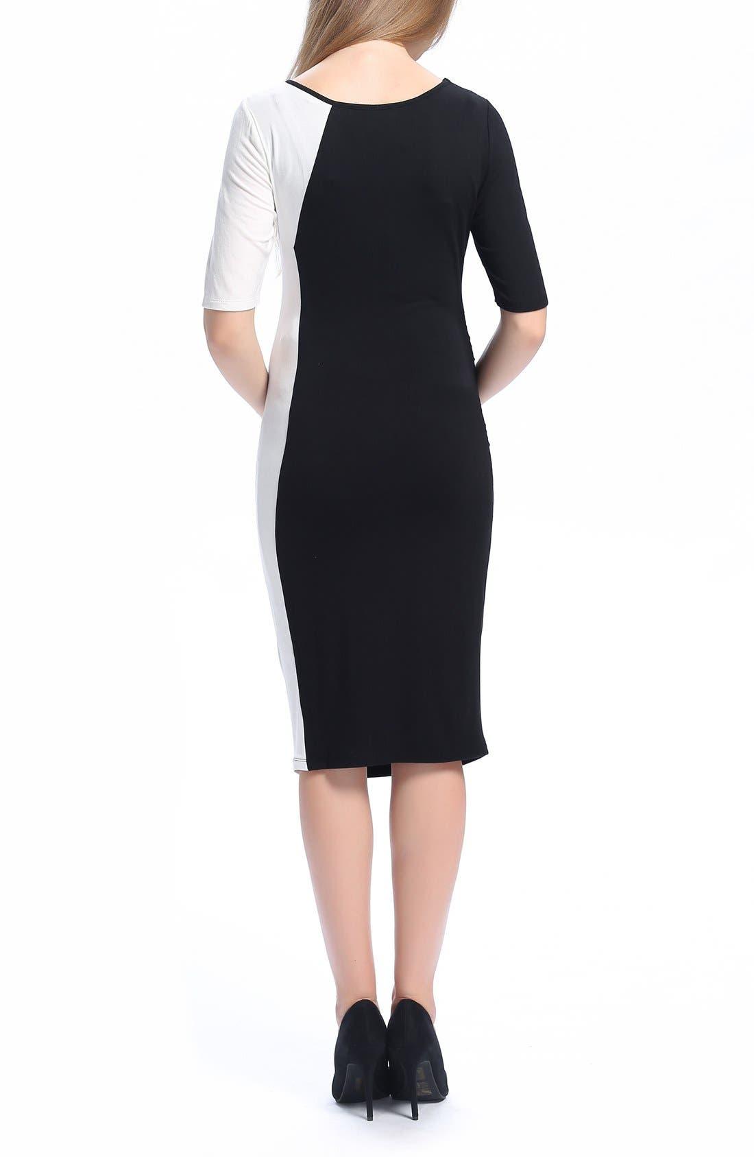 Daphne Colorblock Maternity Dress,                             Alternate thumbnail 2, color,                             Black/ White