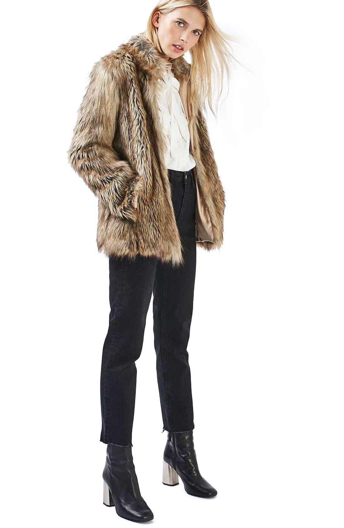 Kate Faux Fur Coat,                             Alternate thumbnail 2, color,                             Brown