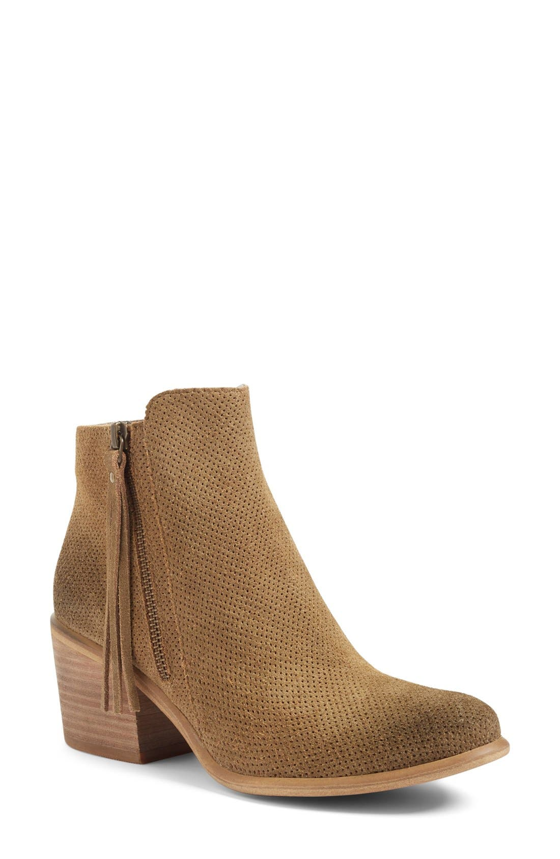 Basil Bootie,                             Main thumbnail 1, color,                             Camel Perf Suede