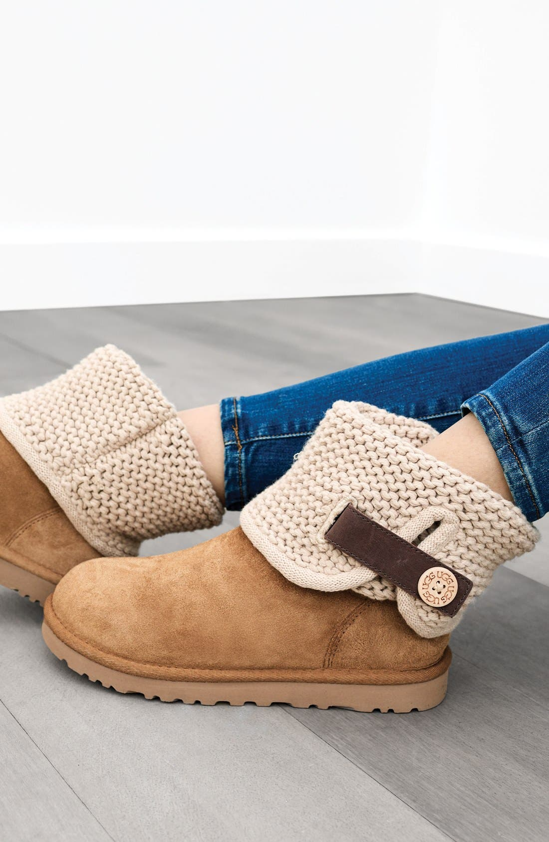 Alternate Image 6  - UGG® Shaina Knit Cuff Bootie (Women)