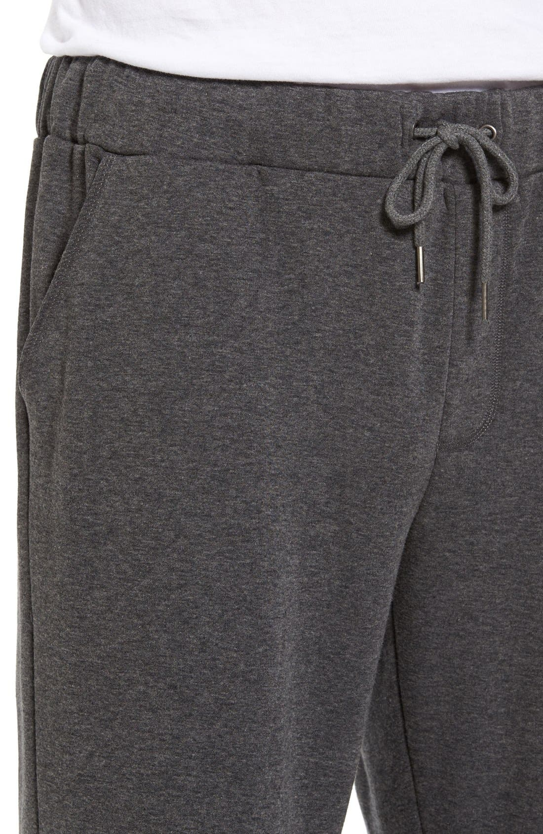 Fleece Lounge Pants,                             Alternate thumbnail 4, color,                             Grey Heather