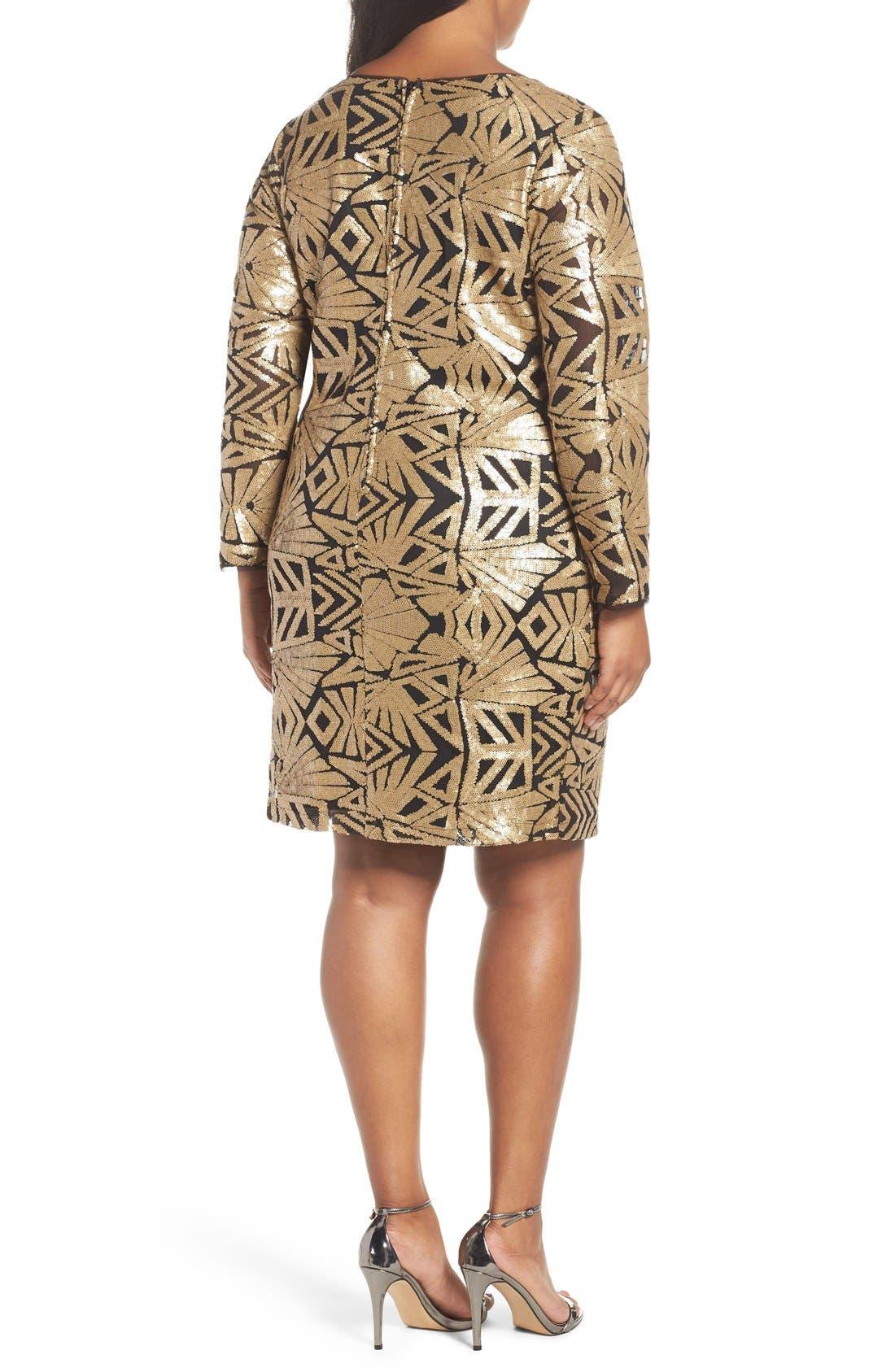 Alternate Image 2  - Marina V-Neck Sequin Sheath Dress (Plus Size)