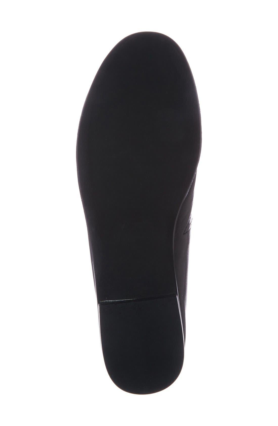 'Jordan' Flat,                             Alternate thumbnail 4, color,                             Black Leather