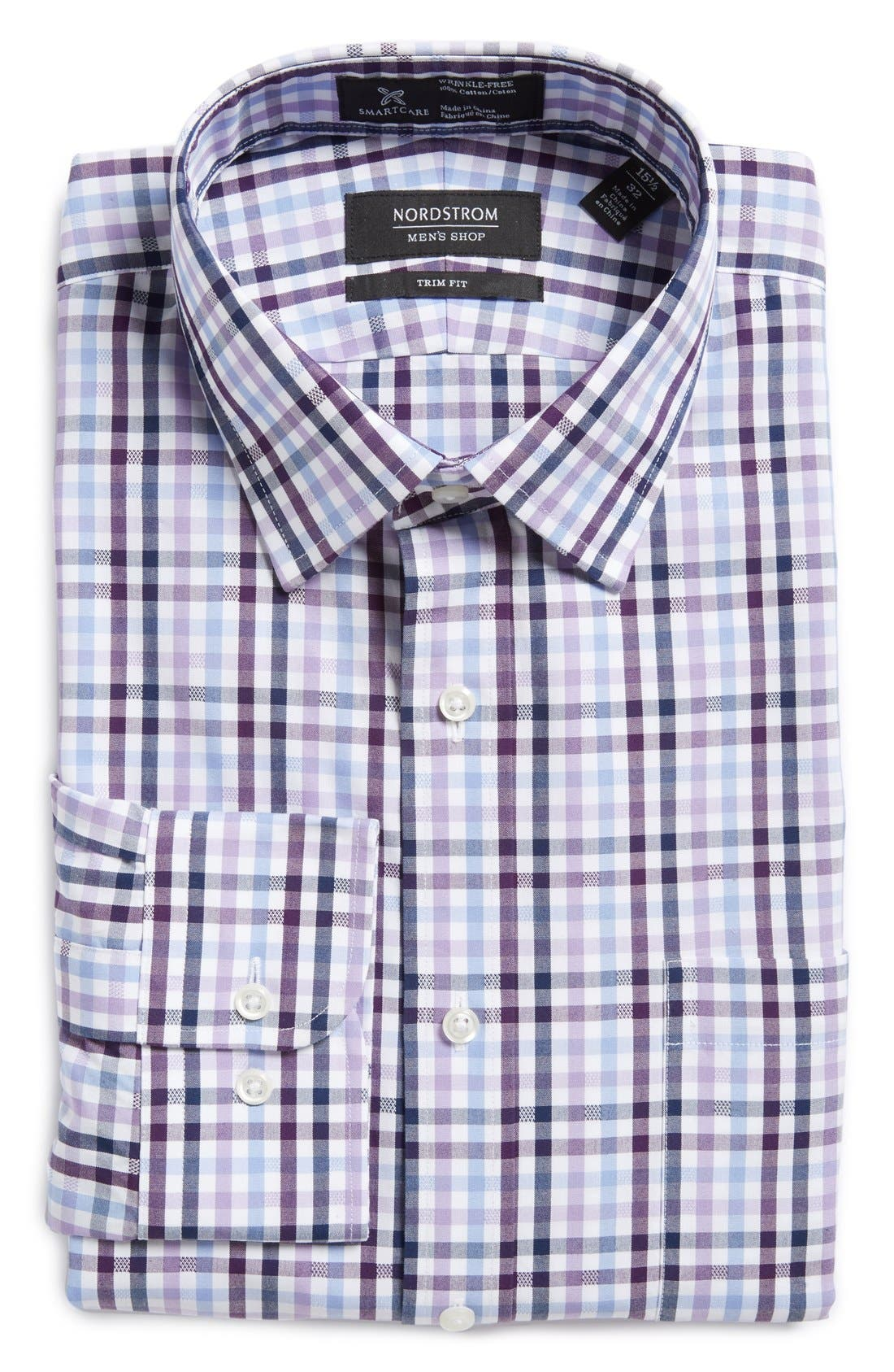 Main Image - Nordstrom Men's Shop Smartcare™ Trim Fit Check Dress Shirt