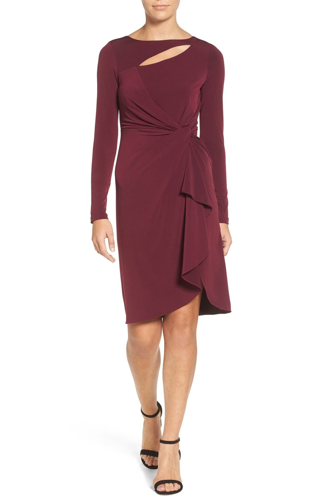CATHERINE CATHERINE MALANDRINO Gertie Keyhole Twist Front Sheath Dress