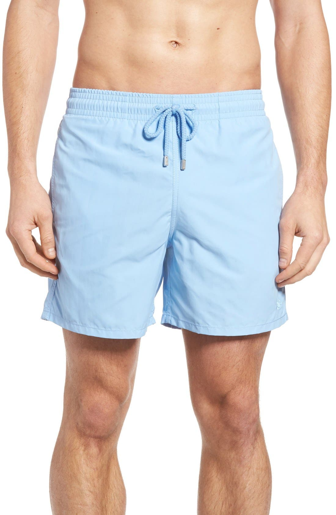 Coral Water Reactive Swim Trunks,                         Main,                         color, Sky Blue