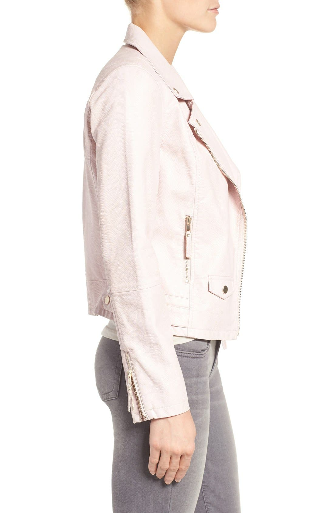 Brooke Faux Leather Moto Jacket,                             Alternate thumbnail 3, color,                             Blush