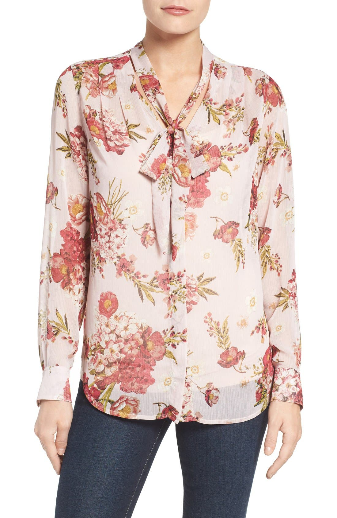 Main Image - KUT from the Kloth Amelie Tie Neck Floral Blouse