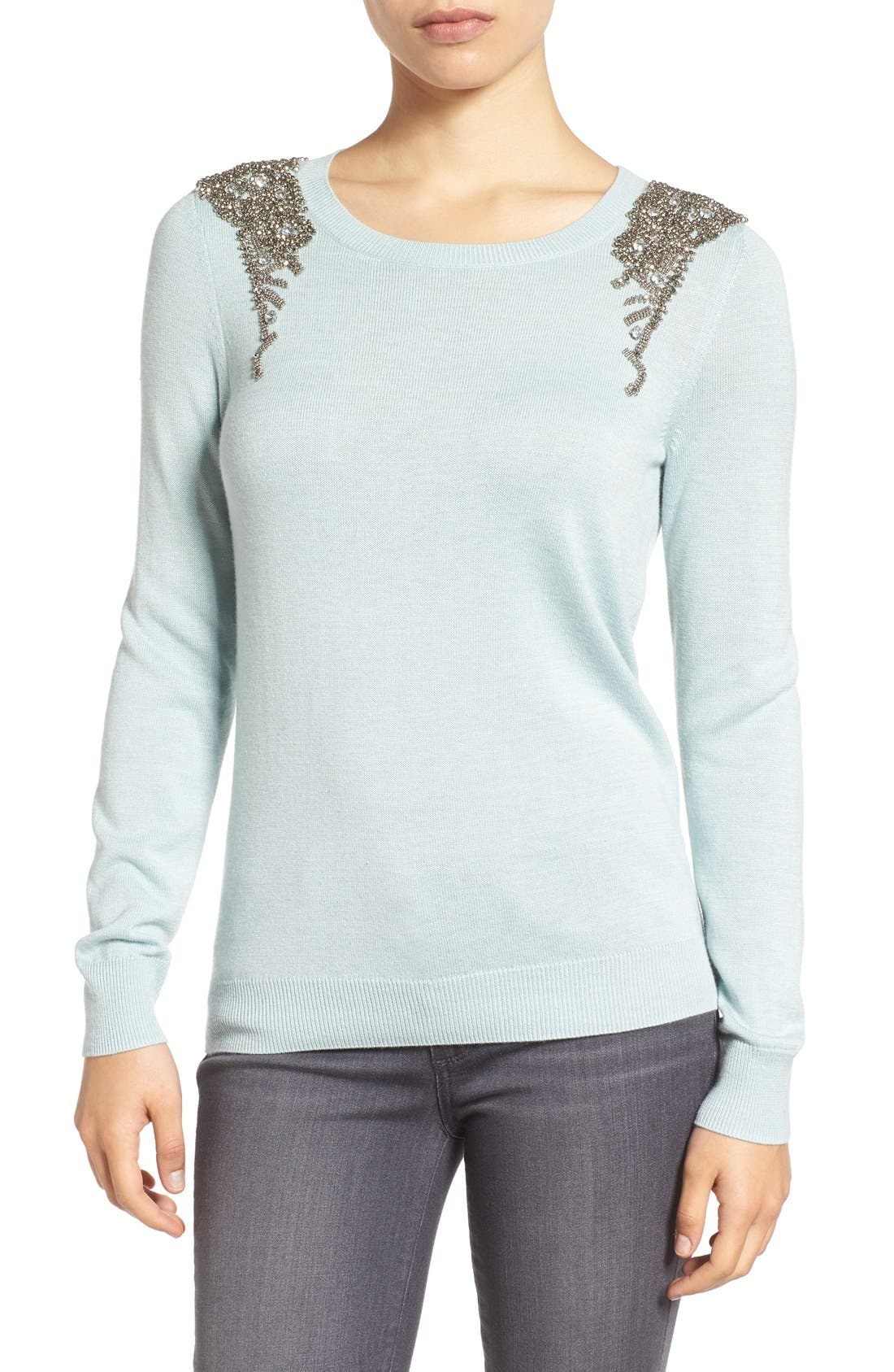 Main Image - Halogen® Embellished Shoulder Sweater (Regular & Petite)