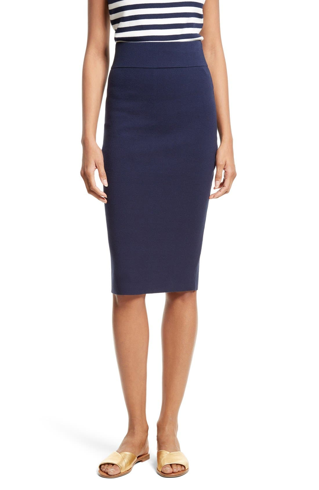 Stretch Knit Pencil Skirt,                         Main,                         color, Navy