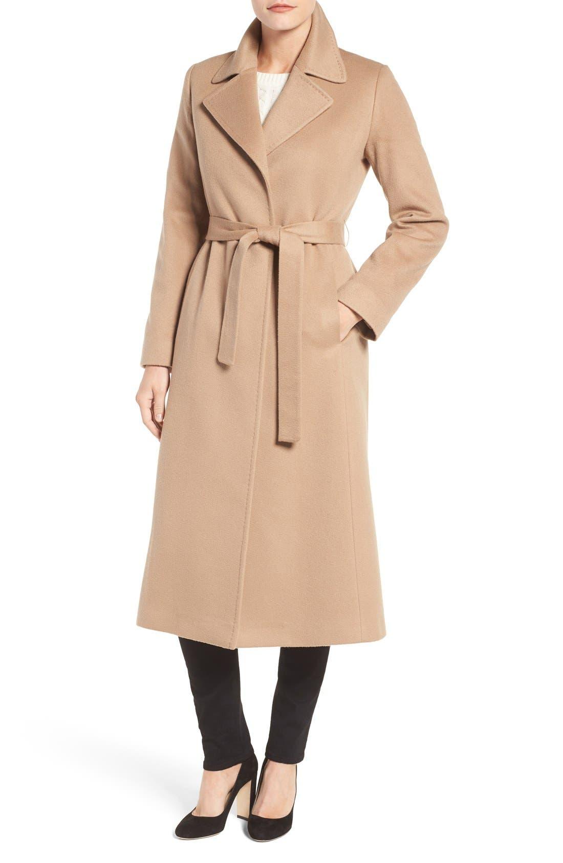 Fleurette Notch Collar Long Cashmere Wrap Coat