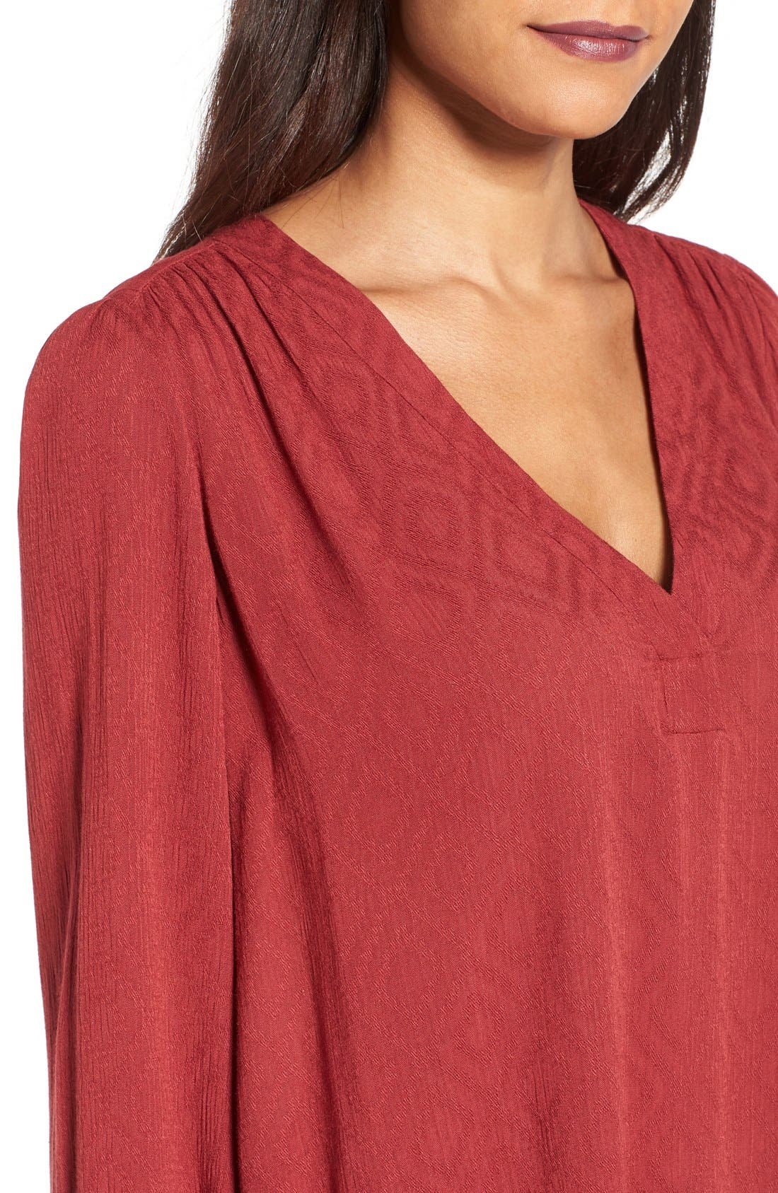 Textured V-Neck Blouse,                             Alternate thumbnail 4, color,                             Brick