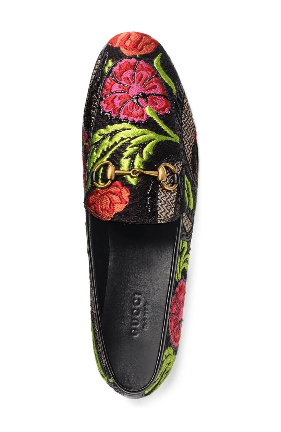 'Jordaan' Metallic Loafer,                             Alternate thumbnail 2, color,                             Black Floral
