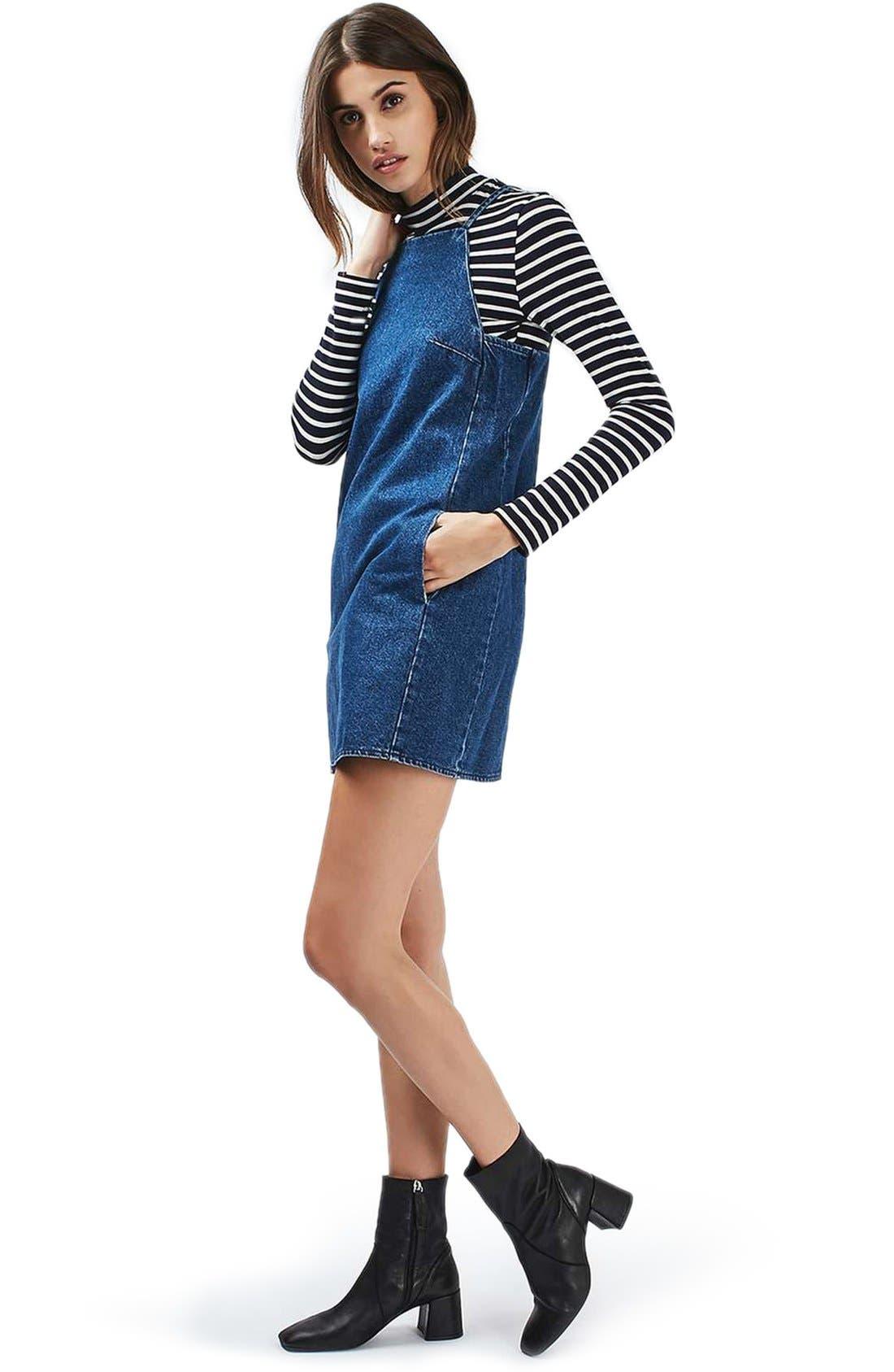 Alternate Image 2  - Topshop Moto Denim Pinafore Dress