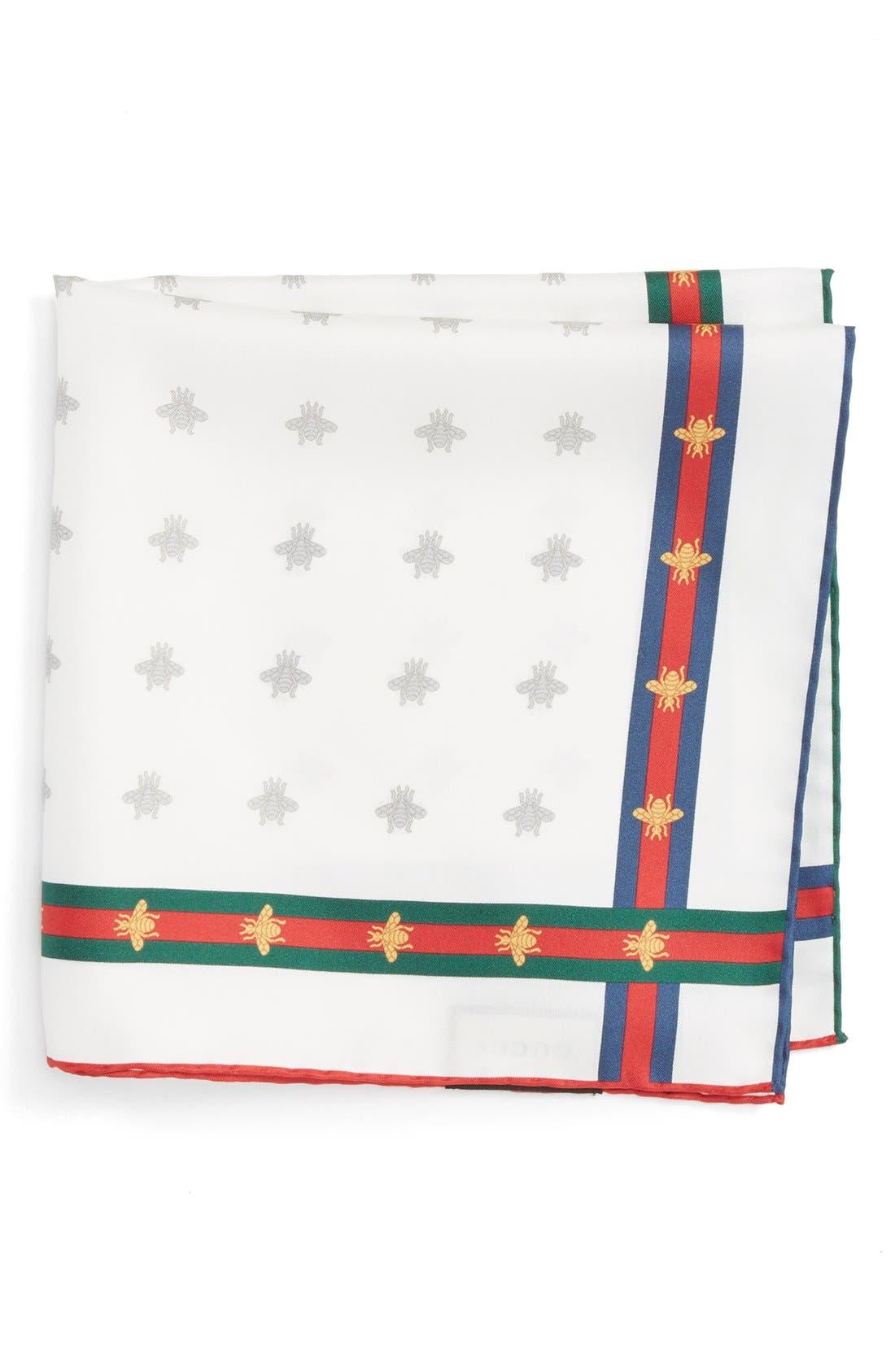 Runebis Silk Twill Pocket Square,                             Main thumbnail 1, color,                             White