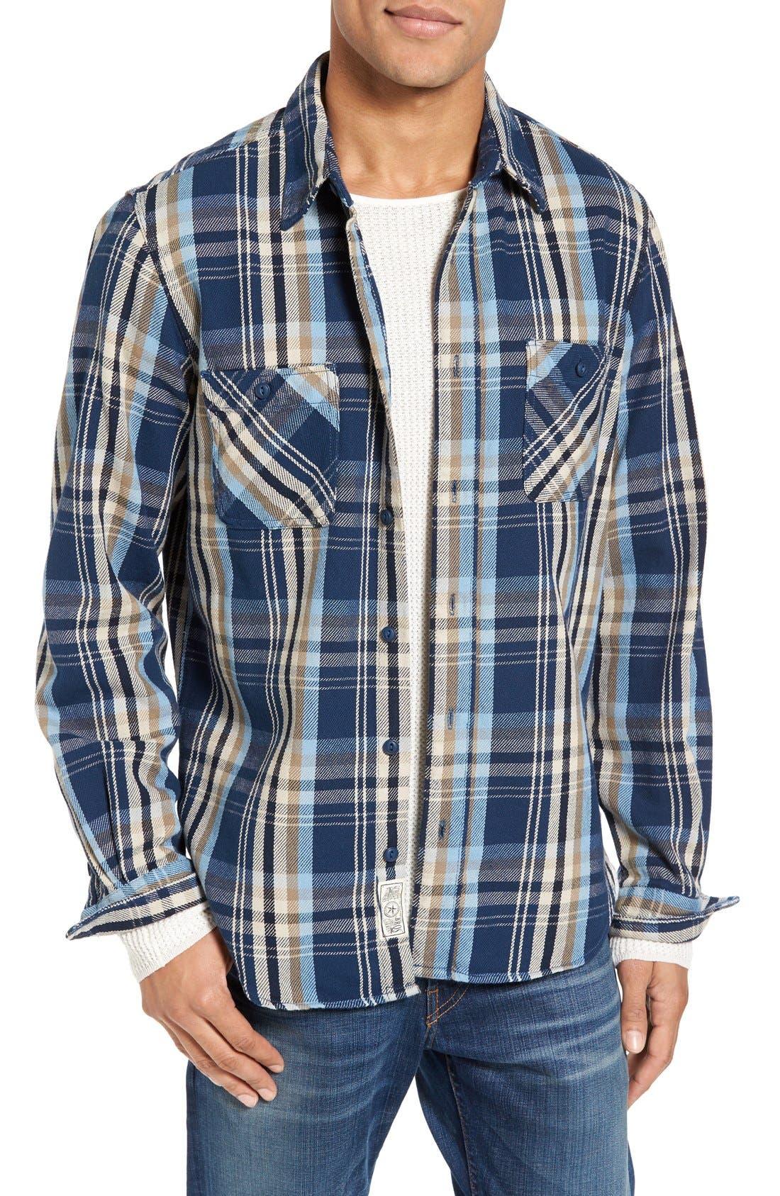 Classic Fit Plaid Flannel Shirt,                         Main,                         color, Blue