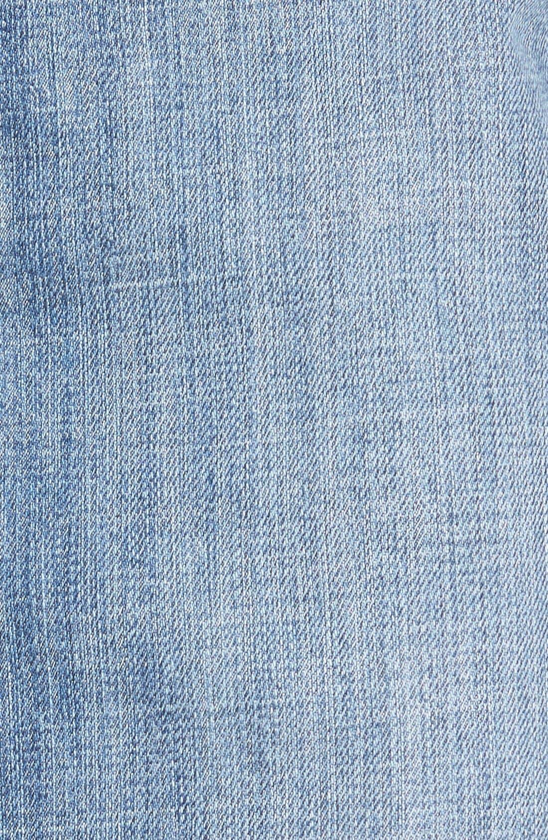 Button Front Denim Midi Skirt,                             Alternate thumbnail 5, color,                             Bluejay Medium Vintage