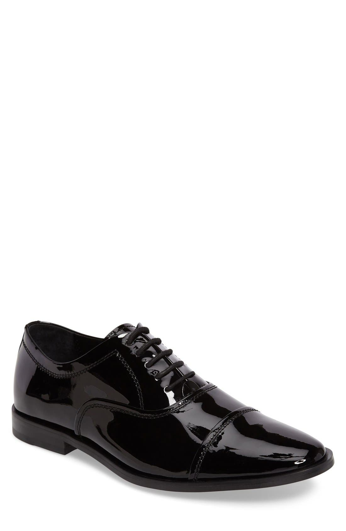 'Nino' Cap Toe Oxford,                         Main,                         color, Black Patent Leather