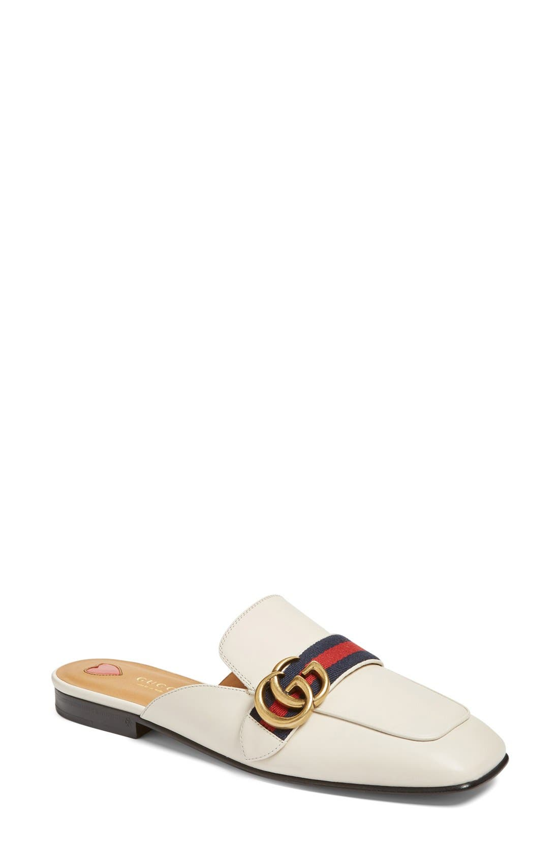 Loafer Mule,                             Main thumbnail 1, color,                             White Leather