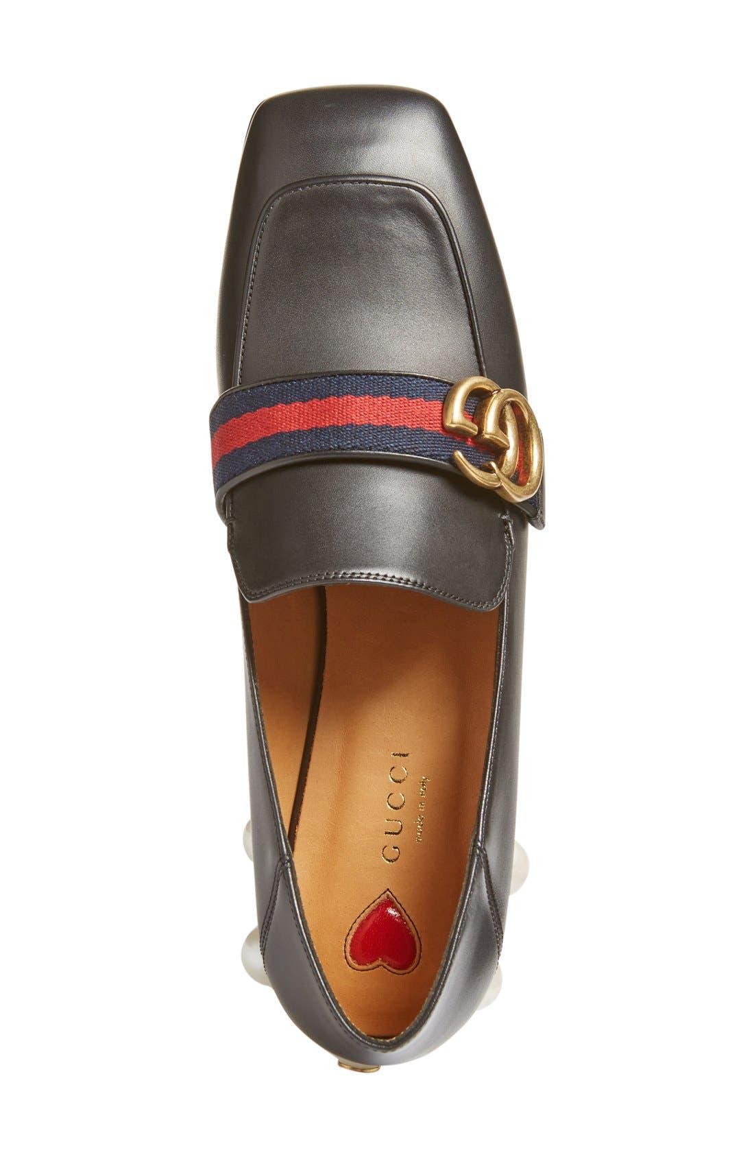 Peyton Embellished Heel Loafer,                             Alternate thumbnail 4, color,                             Black Leather