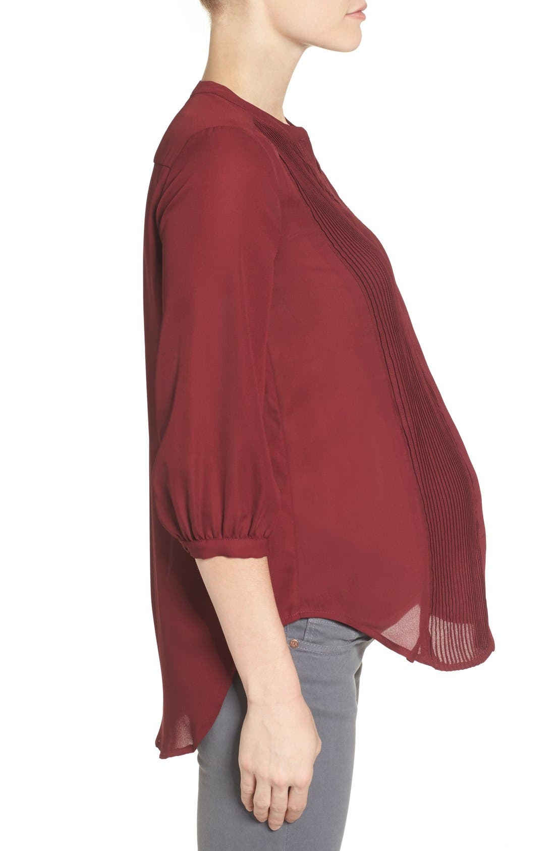 'Audrey' Maternity/Nursing Tuxedo Blouse,                             Alternate thumbnail 3, color,                             Burgundy