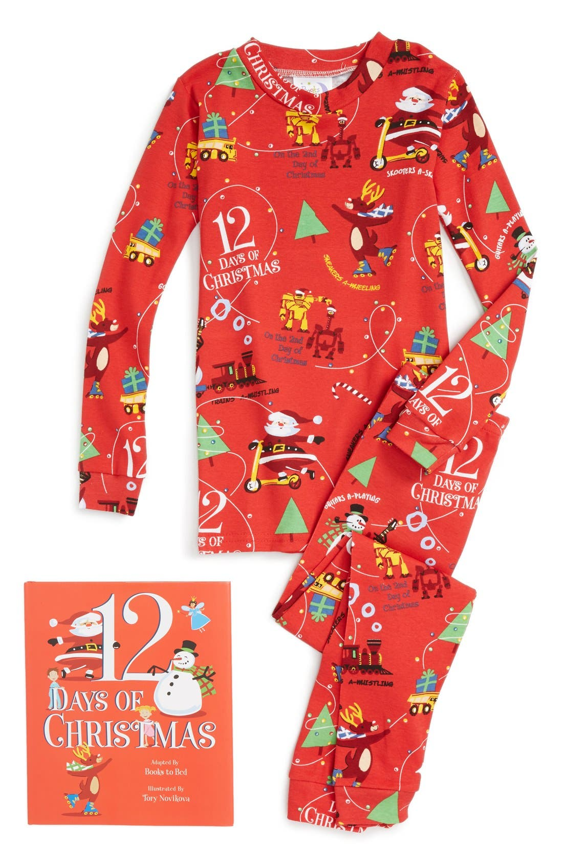 12 Days of Christmas Fitted Two-Piece Pajamas & Book Set,                             Main thumbnail 1, color,                             Red