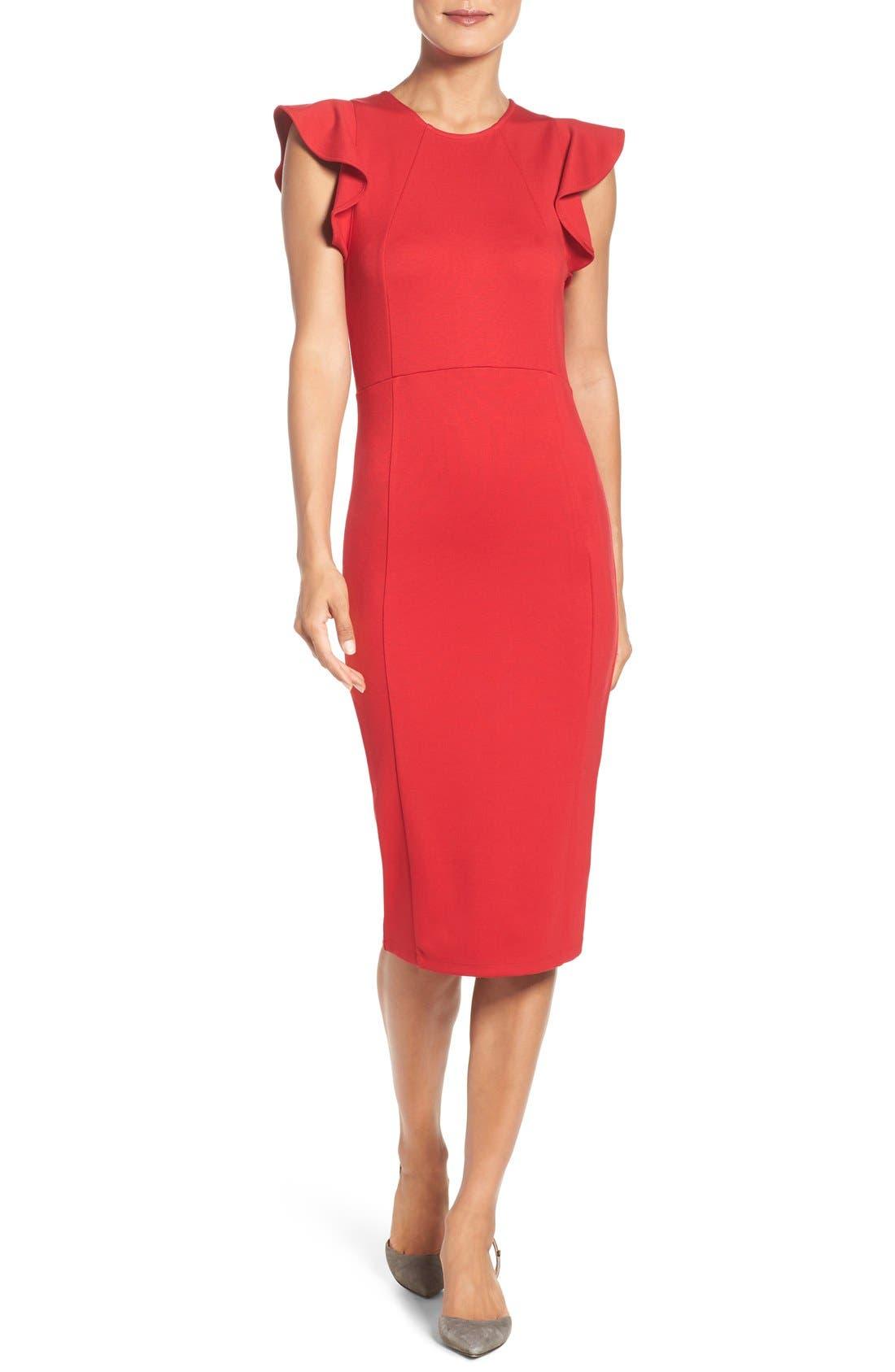 Felicity & Coco Ruffle Sheath Dress (Regular & Petite) (Nordstrom Exclusive)