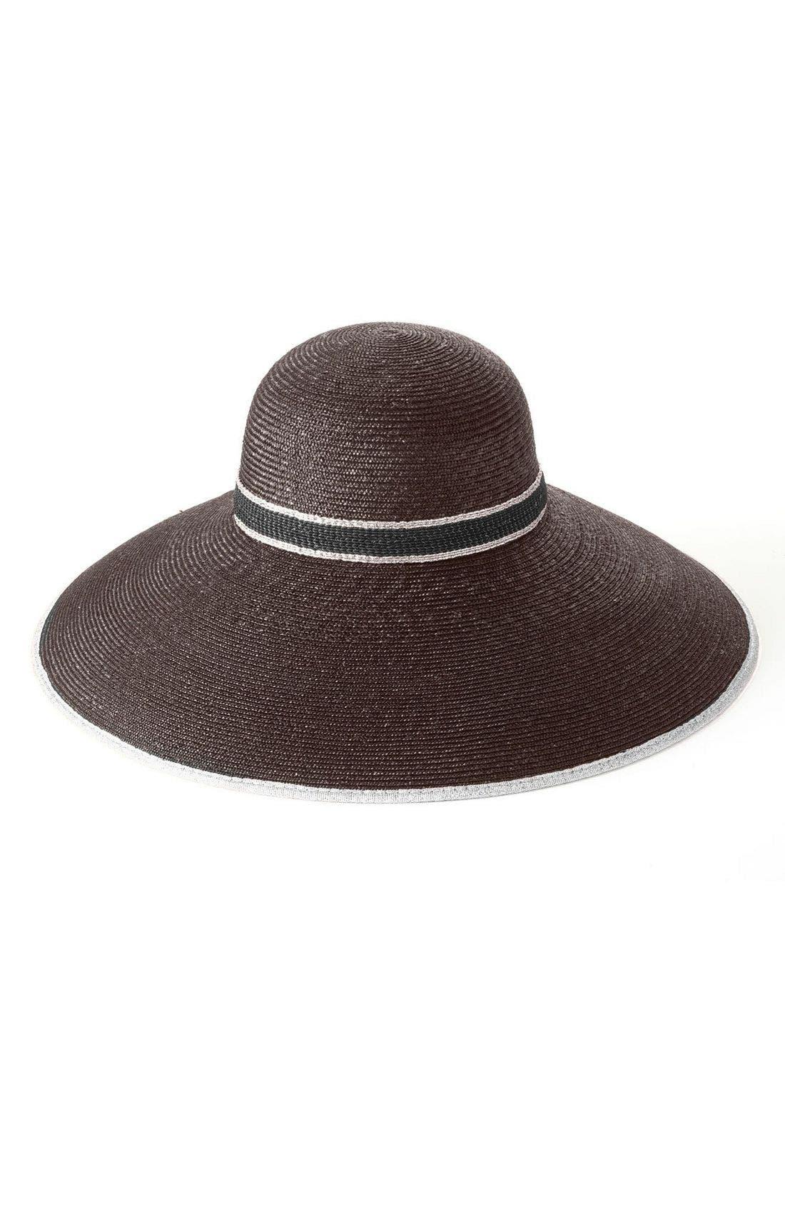 Alternate Image 1 Selected - Nordstrom 'Drama' Metallic Trim Straw Hat