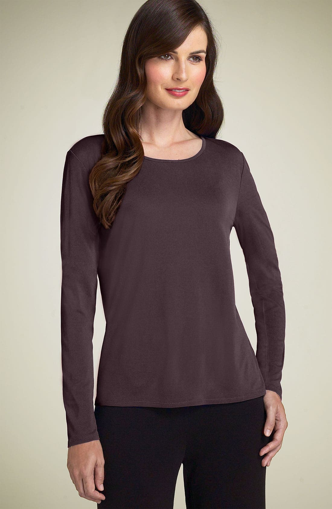 Main Image - Eileen Fisher Silk Tee (Regular & Petite)