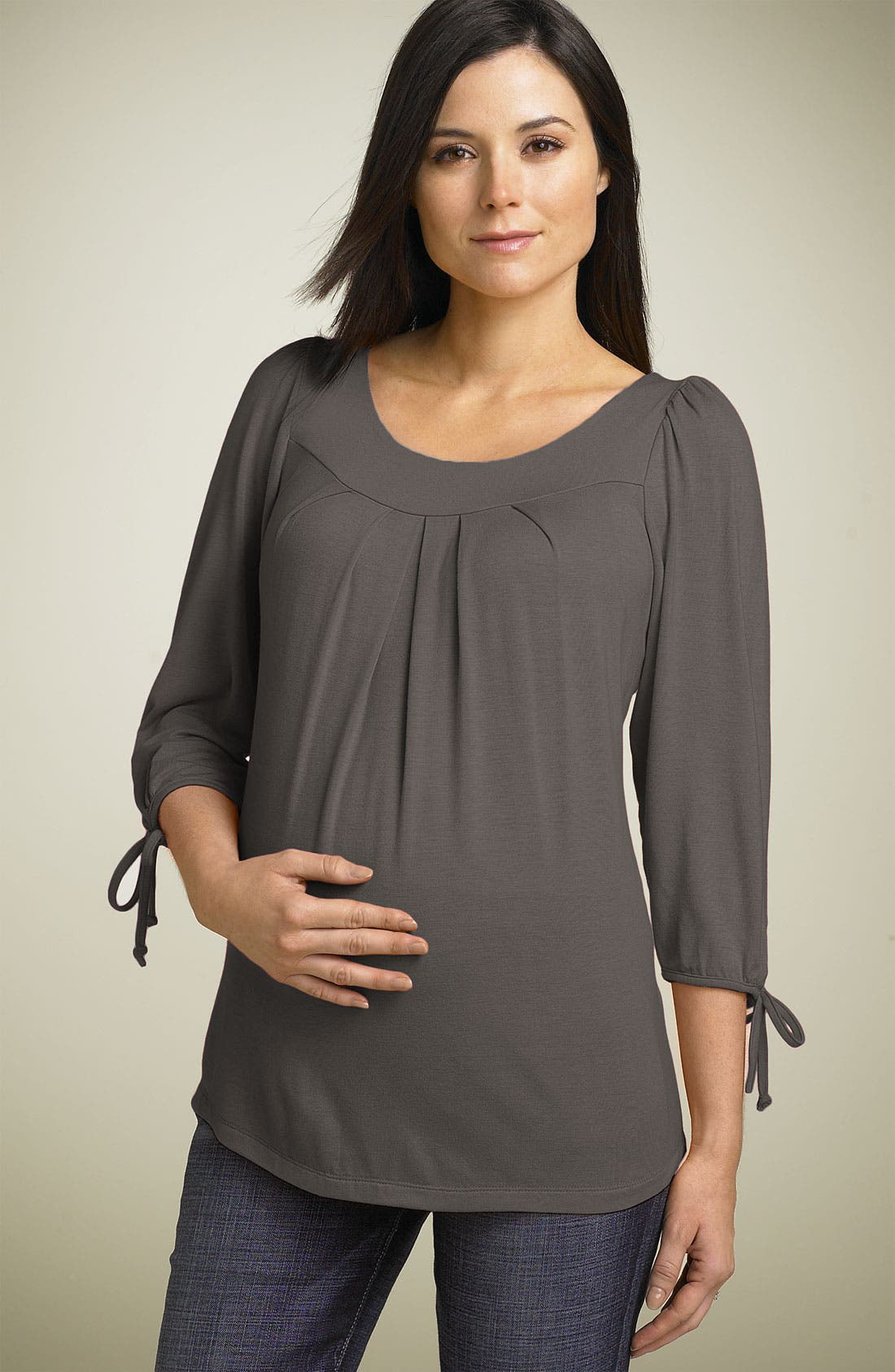 Maternity Tie Sleeve Top,                         Main,                         color, Iron