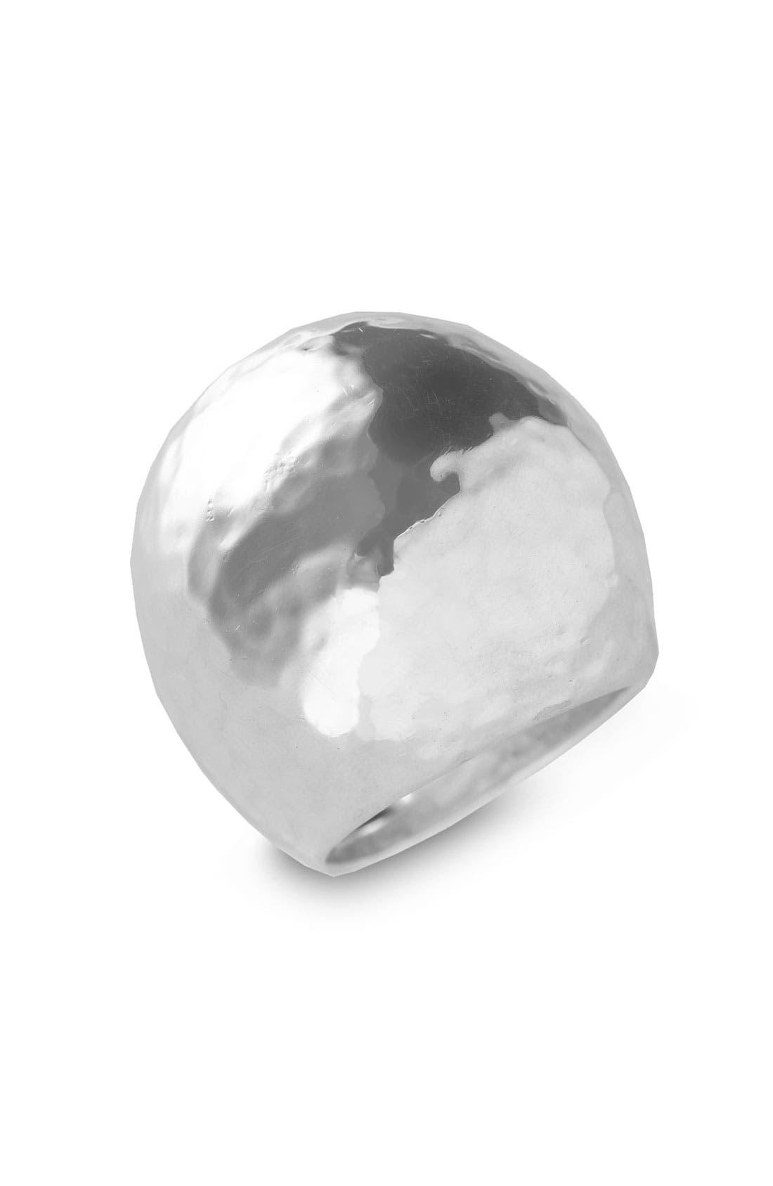 'Glamazon' Large Hammered Dome Ring,                             Main thumbnail 1, color,                             Silver